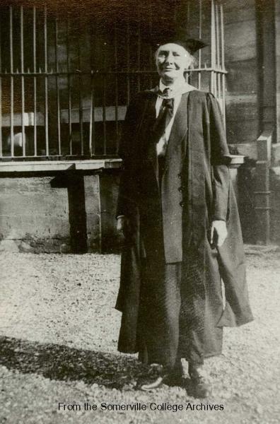 Emily Penrose outside the Sheldonian, 14 October 1920