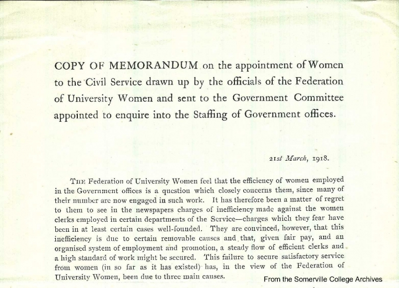 Federation of University Women memorandum