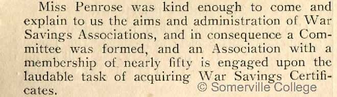 The Fritillary December 1916; the St Hugh's War Savings Association
