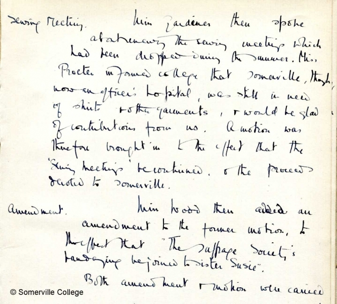 Minutes of College Meeting 19th October 1916
