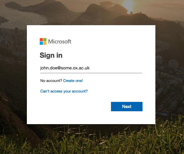 Microsoft Office 365 (Nexus365) first time login