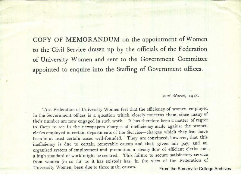 Federation of University Women memorandum